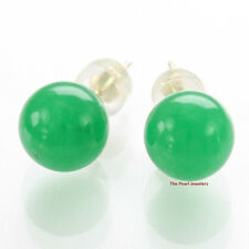 14k Solid Yellow Gold Post & Back 8mm Round Ball Green Jade Stud Earrings TPJ