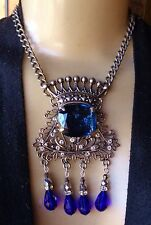 Vintage Necklace Huge Crowned Blue Rhinestone Pendant W/ Crystal Drops