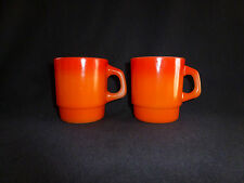 Set Of 2 Vintage Anchor Hocking Fire King ORANGE - D Handle Stackable Mugs