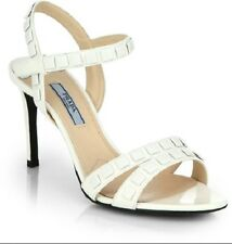 New Prada Studded Leather Ankle Strap Sandals Shoes 37.5/ 7.5 US $950 White