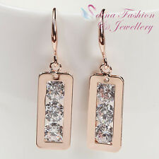 18Ct Rose Gold Plated Simulated Diamond 3 x 0.75 Carat Rectangle Dangle Earrings