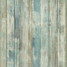RMK9052WP Blue Distressed Rustic Wood Peel & Stick Wallpaper Wall Decal Decor