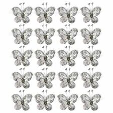 "40 PCS 2""  Silver Organza Wire Butterfly Wedding table Decorations gifts craft"