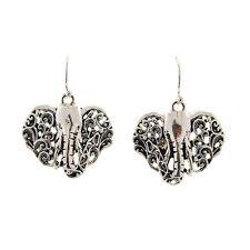 """Elephant 1 1/4"""" Lightweight Hypoallergenic Black Filigree Silver Dangle Earrings"""