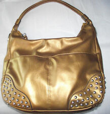 Kathy Van Zeeland Soft Metallic Gold Big Shoulder Bag Purse Nail Heads Excellent