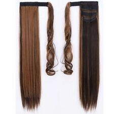 Long Wrap Around Ponytail Clip in Hair Extensions Natural Real For Human NA4A