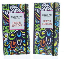 Lot of 2 Adult Color Art Therapy For Stress Relief Coloring Books Travel Edition