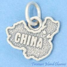 """CHINA COUNTRY MAP .925 Solid Sterling Silver Charm 15mm 9/16"""" Made In USA"""