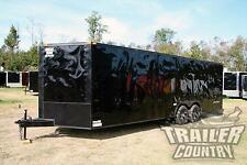 NEW '17 8.5X24 V NOSE ENCLOSED CARGO BLACKED OUT CAR TRAILER BLACKOUT TOY HAULER