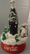 Kurt Adler Coca Cola Music Box Polar Bear Skiing Around Coke Bottle Christmas