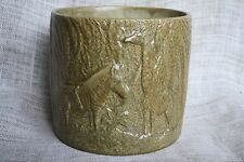 "VTG 1976 Round Ceramic 6.5"" Beige Jungle Animal Planter Giraffe Zebra Vase"