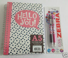 A5 Wire Bound Note Book Hard Cover 150 sheets & 2 x Zebra Flower Design Pens