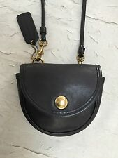 Coach Vintage RARE Mini black leather sling belt crossbody bag USA