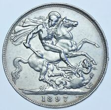 1897 LXI CROWN, BRITISH SILVER COIN FROM VICTORIA VF