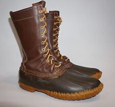 """Men's Vintage Cursive LL Bean Maine Hunting Shoe Boots US 11 D 16"""" Tall Brown"""