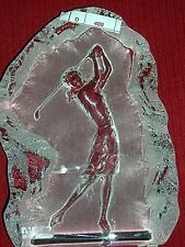 Set of Nybro Crystal Glass Sculpture Bookends~Female and Male Golfers~Sweden~EUC
