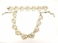Vintage Sarah Coventry Frosted Feathers Silver Goldtone Necklace Bracelet Demi