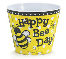 "HAPPY BEE DAY YELLOW & BLACK BEE MELAMINE 4.5"" Pot Cover"