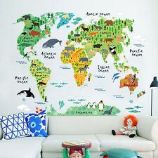 Kids Children Bedroom Living Room PVC Animal World Map Wall Sticker Mural Decal