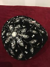 "Vintage 1940s 1950s Black Beaded Sequin Hat Beret ""Paula"" Pin Up Rockabilly"