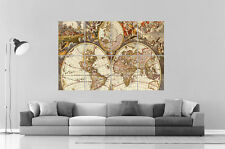 OLD WORLD MAP Carte du vieux monde  Wall Art Poster Grand format A0 Large Print
