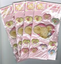 4 New Packs Lillebi Mouse Germany PUFFY Adorable heart Stickers!