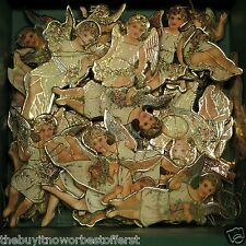 Vintage Green Christmas Box & 108 DIE CUT Merrimack Angel Ornament Collection