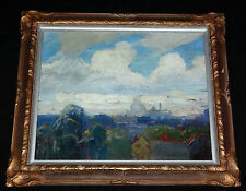 """1940s AMERICAN OIL on BOARD PAINTING """"CITY SCENE"""" by CARL WILLIAM PETERS (Jo"""