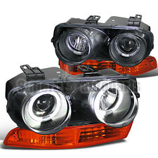 1994-1997 Acura Integra Dual Halo Projector Headlight Black+Amber Bumper Lamps
