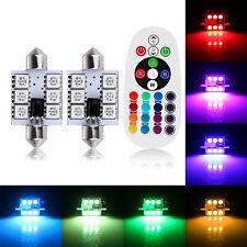 2pcs Remote Control Car Interior RGBW LED Dome Reading Light DC 12V 41mm SMD5050