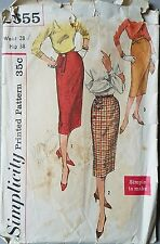50s High Waist Slim Skirt Simplicity 2655 Vtg Sewing Pattern W 28