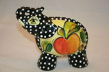 "Turov 6.5"" Ceramic Figurine Figure Polka Dot Elephant Fruit Apple Design EC"