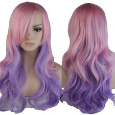 US Wigs Long Curly Full Head Wig Cosplay Party Daily Fancy Dress Mix Pink Purple