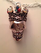 Swarovski Vintage Gemstones Day of the Dead Skull Crown Necklace