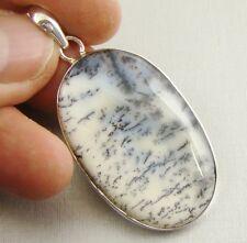 DENDRITIC OPAL Semi-Precious Gemstone 925 Sterling Silver Pendant - D60