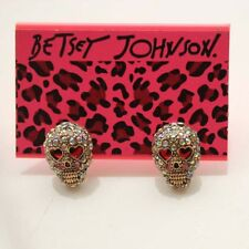 New Betsey Johnson Rhinestone Skull Stud Earrings Gift Cute Fashion Girl Jewelry