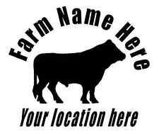 Custom decal sticker with your name and location Beef Cattle Farm