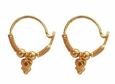 Solid 22K 22 Carat Yellow Gold Round Design Cartilage Hoop Earrings (845)