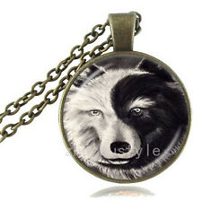 Vintage wolf yin yang Glass Bronze necklace for women men Jewelry