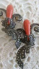 Vintage ,1920's Marcasite and Coral clip - on earrings, Very Deco! Marked 925!