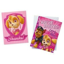 PAW PATROL GIRL INVITES and THANK YOUS (8) ~ Birthday Party Supplies Stationery