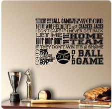 "34"" Baseball Take Me Out To Ballgame Song Wall Decal Sticker Strike Sport Mural"