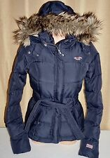 Women's Hollister By Abercrombie Down Fur Puffer Jacket Coat Small