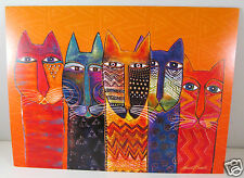 Laurel Burch Deluxe Greeting Card Any Occassion Tribal Cat Faces Orange New