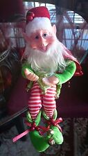 "14"" BENDABLE POSEABLE ORNATE LIME GREEN RED & WHITE CHRISTMAS ELF PIXIE ~ NEW"