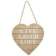 LIVE LAUGH LOVE - Hanging Wooden Heart Sign Home Decor Door - SHABBY CHIC
