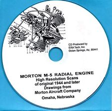 Morton M-5 model airplane engine drawings and instructions how to build  CD-ROM