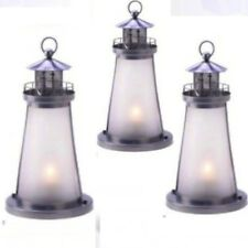 3 White Frosted Lighthouse Lantern Candle Holder Wedding Centerpieces