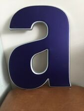 Vintage Letter A Blue Silver Plastic Wall Hanging Pub Sign Industrial