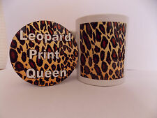 Leopard print mug and round  coaster set great idea for christmas or birthday